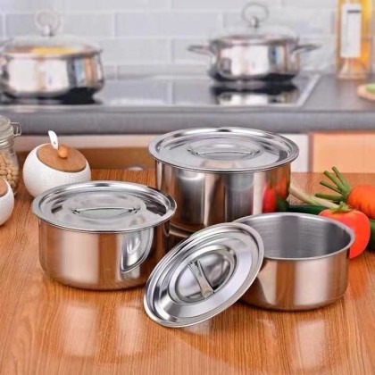 3 pcs Stainless Steel Indian Cooking Pot Set