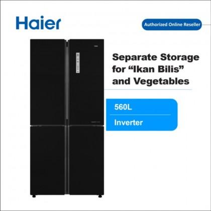 Haier (560L) 4 Door Glass Series Inverter Refrigerator Black HRF-IG525AM(GB)  (HRF-IG525AM(GB))