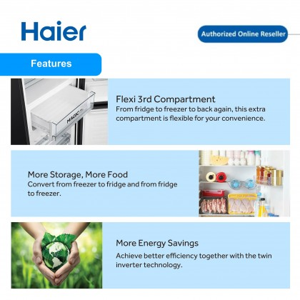 Haier (317L) 2 Door Glass Series Refrigerator HRF-IG338BM
